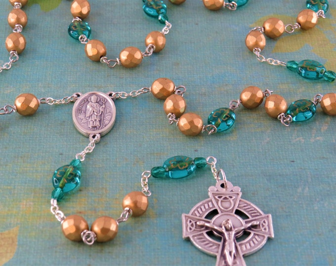 Shamrock Irish Rosary - Czech Gold Crystal Beads - Czech Teal Shamrock Glass Beads - St Patrick & St Bridget Center -Italian Celtic Crucifix