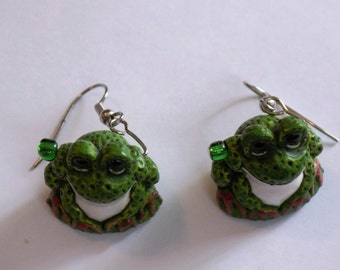 Frog Earrings - Big Eye Frogs - Light Green Frogs - Dark Green Frogs - Brown Frogs - Multi Color Frogs - 7 Different Styles to Choose From