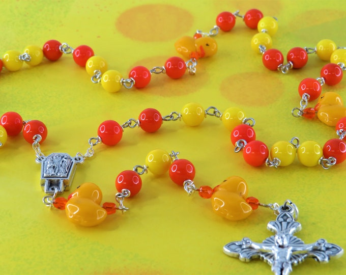 Czech Duck Rosary - Orange and Yellow Glass Beads - Czech Glass Duck Father Beads - Lourdes Center with Water - Italian Sunburst Crucifix