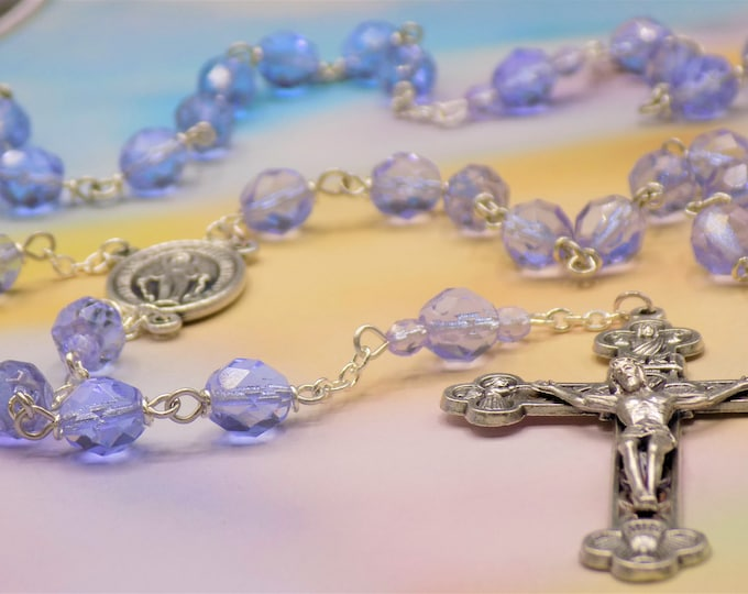 Czech Alexandrite Crystal Rosary - Czech Alexandrite Faceted Crystal Beads - Italian Miraculous Mary Center - Italian Eucharistic Crucifix