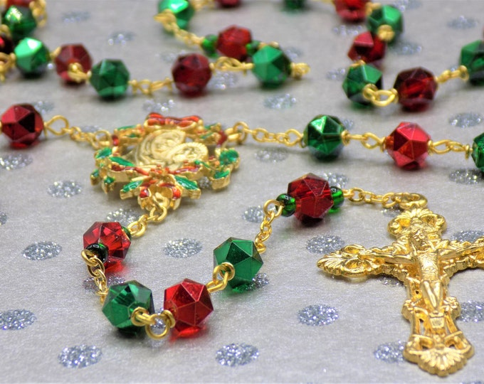 Christmas Rosary - Red and Green Glass Beads - Czech Accent Beads - Beautiful Gold Christmas Red and Green Pewter Center - Filigree Crucifix