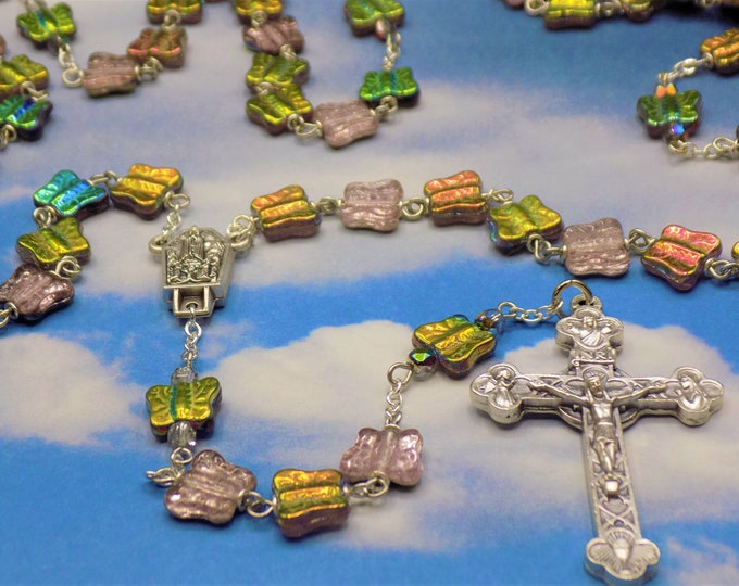 Butterfly Rosary - Czech Crystal Vitrail Rose Butterfly Beads - Italian Our Lady of Fatima Center with Water - Italian Eucharistic Crucifix