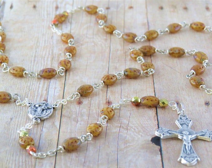 Ladybug Rosary - Czech Brown & Green Picasso Ladybug Beads  - Italian Our Lady of Medugorje Center - Italian Silver Grapes and Vine Crucifix