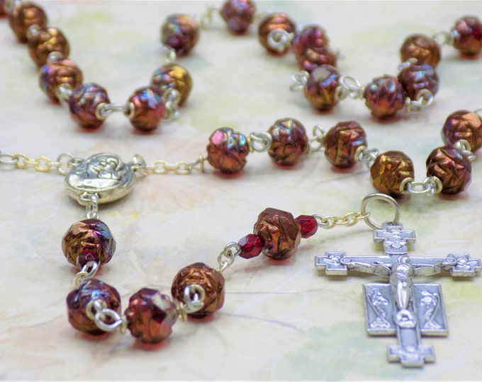 Czech Siam Ruby Bronze Rosebud Rosary - Czech Siam Ruby Bronze Rosebud Beads - Mary Center with Earth from Jerusalem-Italian Angels Crucifix