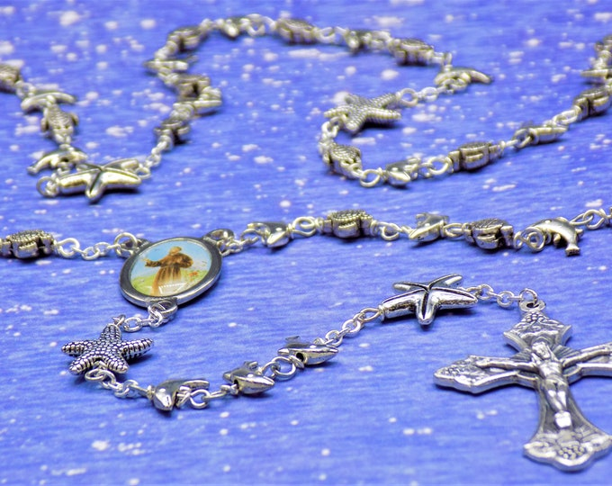 Dolphin, Turtle and Starfish Rosary - Silver Plated Dolphin, Turtle & Starfish Metal Beads - Saint Francis Center - Grapes and Vine Crucifix