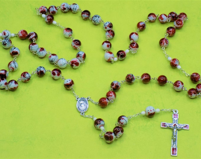 Red-White-Black Rosary - Opaque White, Red & Black Stripe Glass Beads - White Accent Beads - Medugorje Center with Earth -Red Roses Crucifix