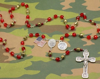 US Marine Corps Military Rosary -Czech Red and Gold Crystal Beads-St Michael Center-St Christopher & US Marine Corps Charm-Stations Crucifix