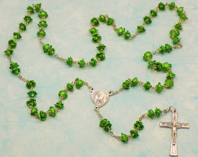Green Rose Flower Rosary - Green Metal Rose Flower Beads - Czech Glass Pearl Beads - Our Lady of Fatima, Portugal Crucifix and Center