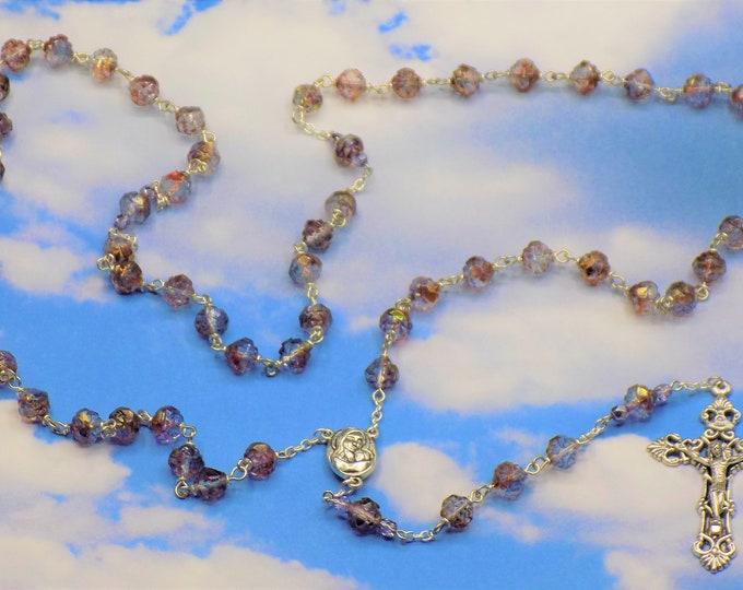 Czech Purple/Blue Rosebud Rosary - Czech Amethyst/Blue/Crystal Luster Rosebud Crystal Beads - Earth from Jerusalem Center -Filigree Crucifix