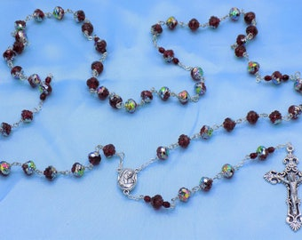 Czech Ruby Red Rosebud Rosary - Czech Crystal Rosebud Ruby Red Beads - Mary & Child Center with Soil from Jerusalem -Italy Filigree Crucifix