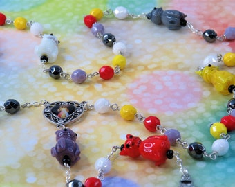 Cat Rosary - Lamp Glass Cat Beads - Czech White, Yellow, Red, Gray & Purple Crystal Beads - Medjugorje-Divine Center  - St Benedict Crucifix