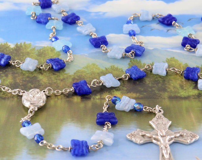 Blue Butterfly Rosary - Czech Light & Royal Blue Crystal Butterfly Beads - Mary Center with Earth from Jerusalem - Italian Grapes Crucifix