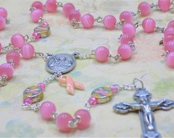 Czech Pink Cats Eye Rosary - Czech PInk 8mm Cats Eye Beads - Awareness Ribbon Metal Beads -Italian St Agatha Center - Italian Heart Crucifix