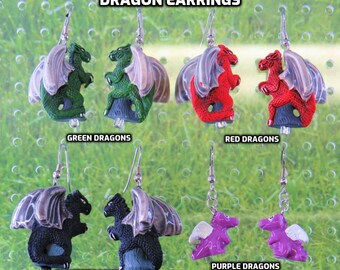 Dragon Earrings - Green Dragons - Red Dragons - Black Dragons  - Purple Dragons - 4 Different Styles/Colors to Choose From