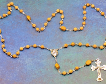Grain Stone Rosary - Semi Precious Grain Stone 6mm Beads - Mary Center Contains Earth from Jerusalem - Crucifix with Earth From Catacombs