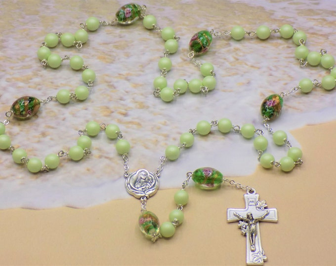 Easter Egg Rosary - Swarovski Pastel Green Pearl Beads - Lamp Glass Green Egg Beads -Italian St. Therese Flower Center-Italian Lily Crucifix