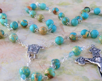 Turquoise Sea Jasper Rosary - Apatite Turquoise Sea Sediment Jasper Gemstone Beads - Lady of Lourdes with Water Center -Eucharistic Crucifix