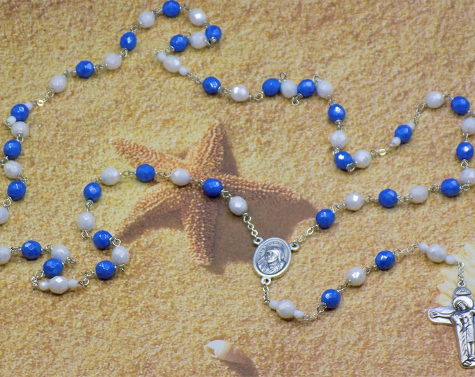 St. Mother Teresa of Calcutta Rosary - Czech Blue and White Beads - St. Mother Teresa Cloth Relic Center - Italian Sorrowful Mother Crucifix