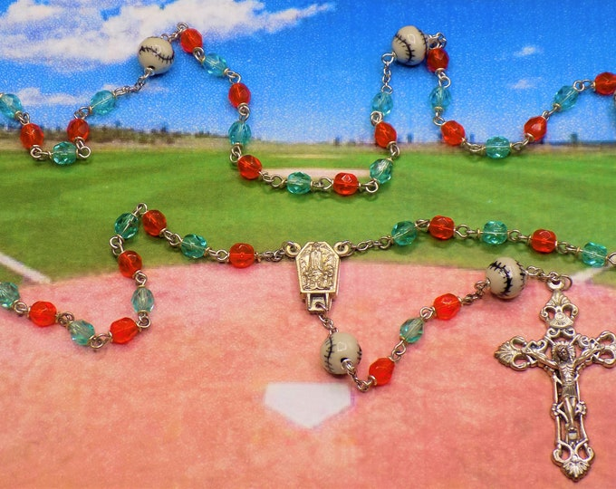 Baseball Rosary - Czech 6mm Crystal Beads - Peru Ceramic Baseballs - Center Contains Water from Fatima, Portugal - Italian Filigree Crucifix