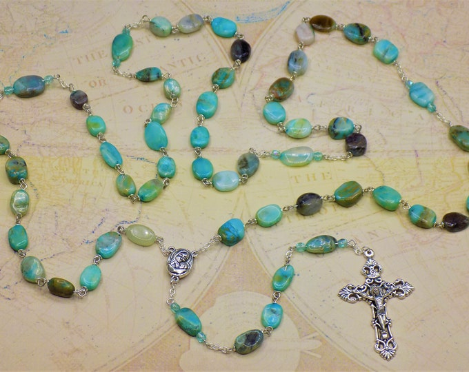 Blue Opal Rosary - Semi Precious Blue Opal Hand-Cut 7-11mm Flat Oval Beads -Mary & Child and Earth Center - Italian Silver Filigree Crucifix
