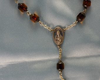 One Decade & Car Rosaries - Amber Cathedral - Iced Gold Glass - Iced Peach Glass - Italian Centers and Crucifixes