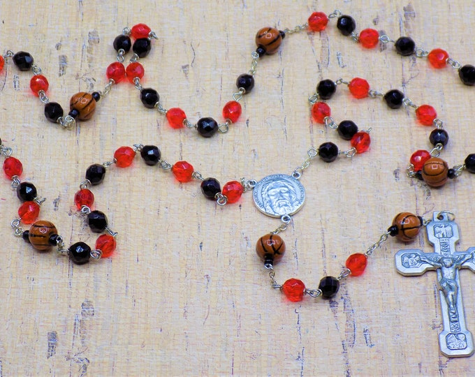 Basketball Rosaries - Czech Red & Black or Green and White Glass Beads - Ceramic Basketballs - Italian Holy Face Center - Italian Crucifix
