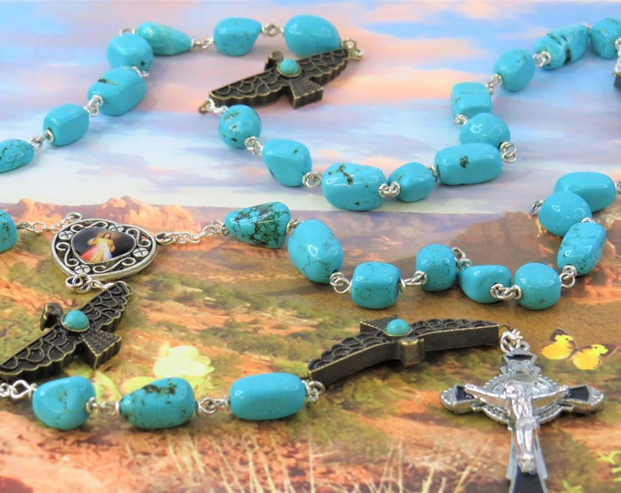 Turquoise & Eagle Rosary - Turquoise Magnesite Stone Beads - Eagle Father Beads - Divine Mercy Color Center - Black Saint Benedict Crucifix