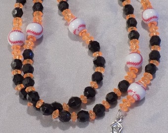 Baseball Sports Rosaries - Black and Orange - Blue, Orange and White - Orange and Blue - Baseball Team Colors