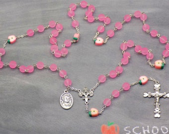 Teacher Rosary - Pink Beach Glass Beads - Polymer Clay Apple Beads - Fleur-de-Lis Fiat Center - Heart Crucifix - St John De La Salle Medal