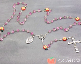 Teacher Rosaries - Pink or Red Glass Beads - Polymer Apple Beads - Italian Centers- Italian Crucifixes - St John Baptist De La Salle Medal