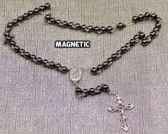 Magnetic Hematite Rosaries - Semi Precious Magnetic Hematite Round or Cylinder Beads - Water from Lourdes Centers - Italian Crucifixes