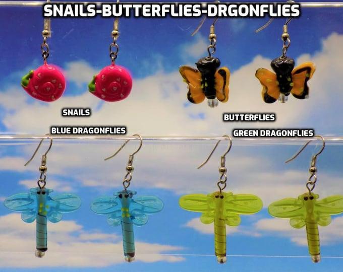 Pink Snails, Butterflies & Dragonfly 3D Novelty Earrings