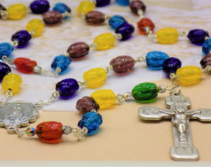 Frog Rosary - Multicolor Frog Crystal Beads - Multicolor Accent Beads - Our Lady of Fatima Center - Stations of the Cross Crucifix