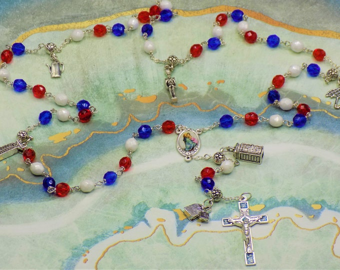 Rosary of Great Britain - Czech Blue, White & Red Glass Beads - Round Pewter Father Beads - English Charms - Mary and Child Center -Crucifix