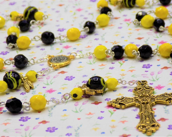 Bumble Bee Rosary - Czech Yellow & Black Opaque Beads - Czech Bumble Bee Charms - Italian Gold and Silver St Benedict Center - Gold Cross