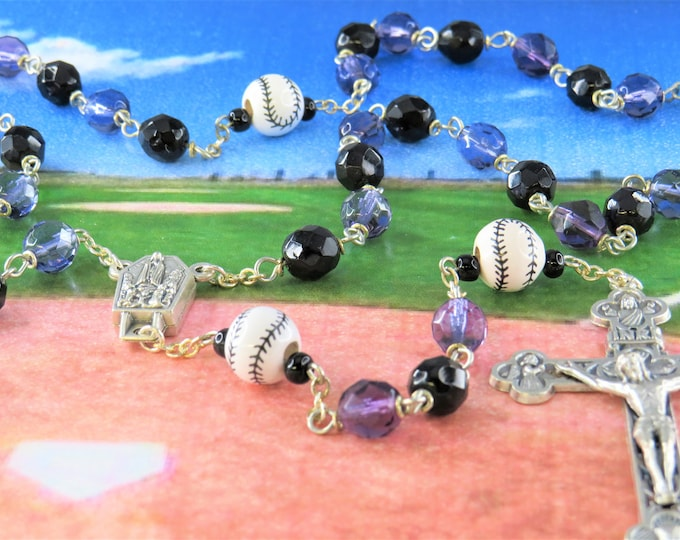 Baseball Purple and Black Rosary - Czech Purple & Black Glass Beads - Ceramic Baseballs -Italian Fatima Center -Italian Eucharistic Crucifix