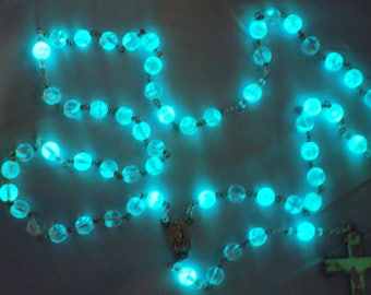 "Czech Glass ""Glow in the Dark"" Rosary - Aqua Glow in The Dark Glass Beads - Our Lady of Fatima Center with Water - Italian Luminous Crucifix"