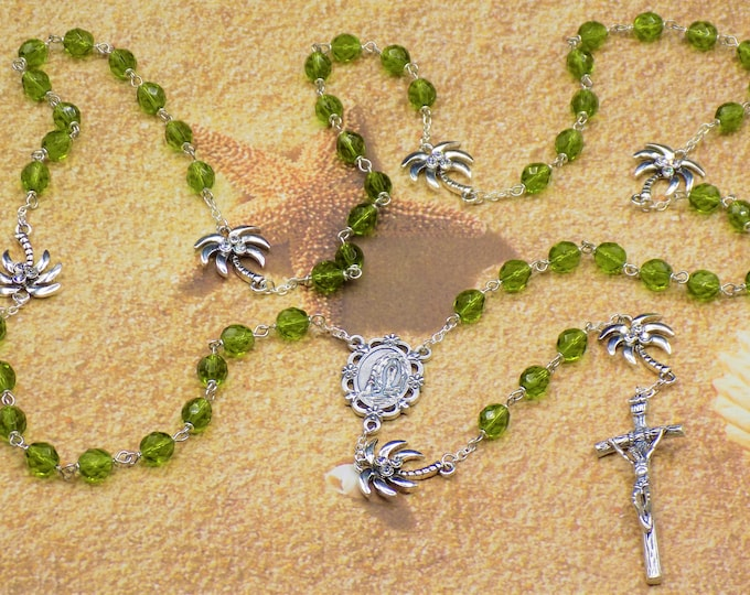 Czech Green and Palm Tree Rosary - Czech Green Crystal Beads - Metal Palm Trees - Italian Lady of Lourdes Center - Italian Papal Crucifix