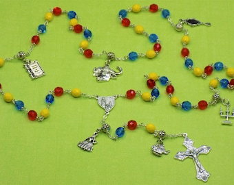Beauty & The Beast Rosary - Czech Red, Blue and Yellow Glass Beads - Beauty and The Beast Charms - Italian Fatima Center - Italian Crucifix