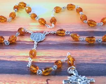 Mary's Tears Topaz Rosary - Czech Topaz Teardrop Crystal Beads - Italian Silver Miraculous Mary Center - Italian Silver Sunburst Crucifix