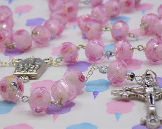 Rose Flower Lamp Glass Rosary - Faceted Rose Flower Lamp Glass Beads -  Czech Pink Crystal Beads - Holy Family Center - Eucharistic Crucifix
