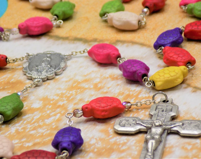 Multi Color Stone Turtle Rosary - Multi Color Stone Turtle Beads - Italian Our Lady of Fatima Center-Italian Stations of the Cross Crucifix