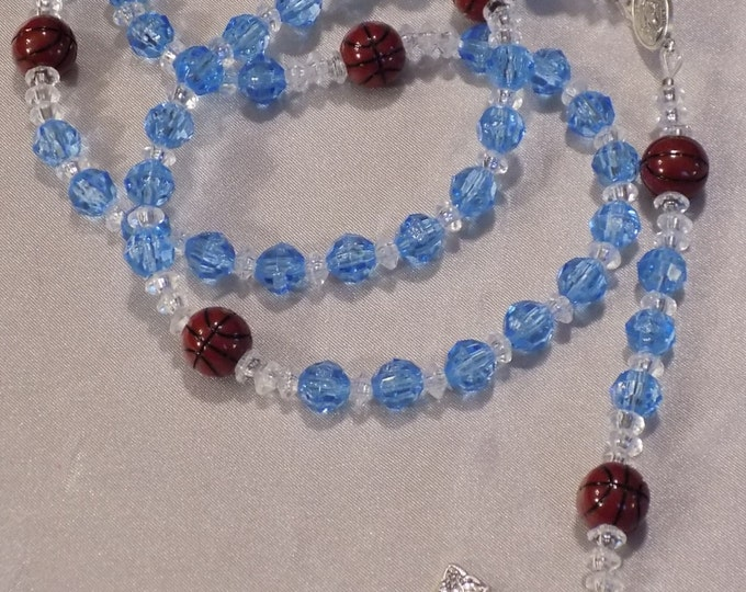 Basketball Sports Rosaries - Blue & Clear - Lt and Dk Blue - Black and Red - Blue and Org - Blue and Yellow - Blue and Black - Red and Blue