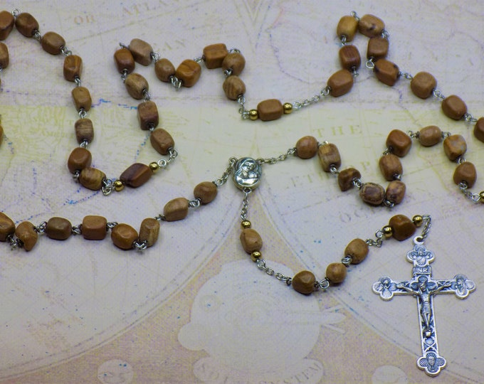 Tiger-Skin Jasper Rosary - Tiger-Skin Jasper Small Nugget Beads - Mary & Child Center Contains Earth from Jerusalem - Eucharistic Crucifix