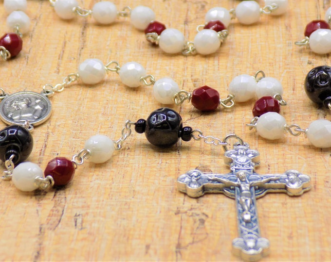 Bowling Ball Rosary - Czech White and Red Glass Beads - Ceramic Bowling Balls - Italian Saint Sebastian Center -Italian Eucharistic Crucifix