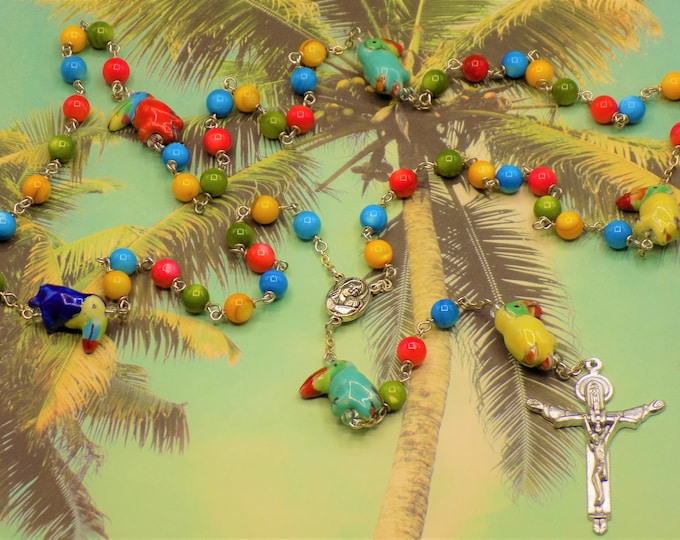 Toucan Bird Rosary - Mother of Pearl Gemstone Beads - Ceramic Toucan Beads - Mary Center with Earth - Italian Holy Trinity Crucifix