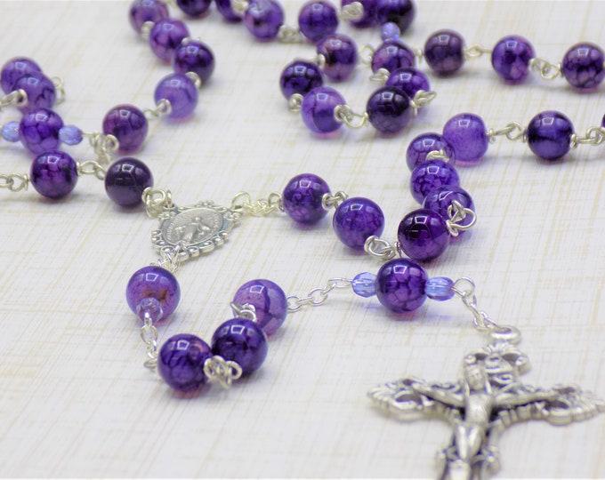 Amethyst Crackle Agate Rosary - Semi Precious Amethyst Crackle Agate 8mm Beads - Italian Immaculate Mary Center - Italian Filigree Crucifix