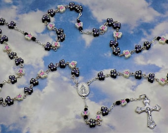 Black and White Butterfly Rosary - Colorful Butterfly Polymer Clay Beads - Italian Silver Mary Center - Italian Grapes & Vine Crucifix