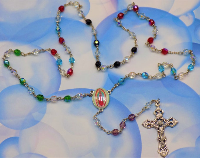 Pro-Life Rosary - Czech Crystal 6mm Multi Color Beads - Italian Our Lady of Guadalupe - Italian Filigree Crucifix - Includes Special Prayers