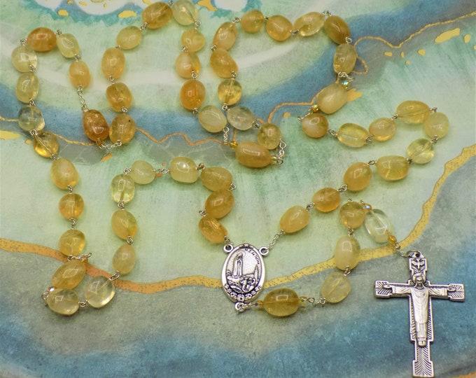 Citrine Rosary - Semi Precious Citrine Nugget Beads - Czech Yellow Accent Beads - Fatima with Earth Center -Italian Christ Redeemer Crucifix